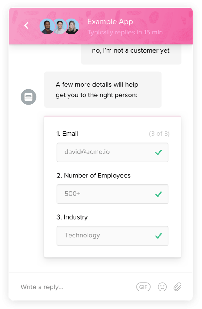 A screenshot of the Intercom chat interface showing Email, Employee Count, and Industry asked at once.