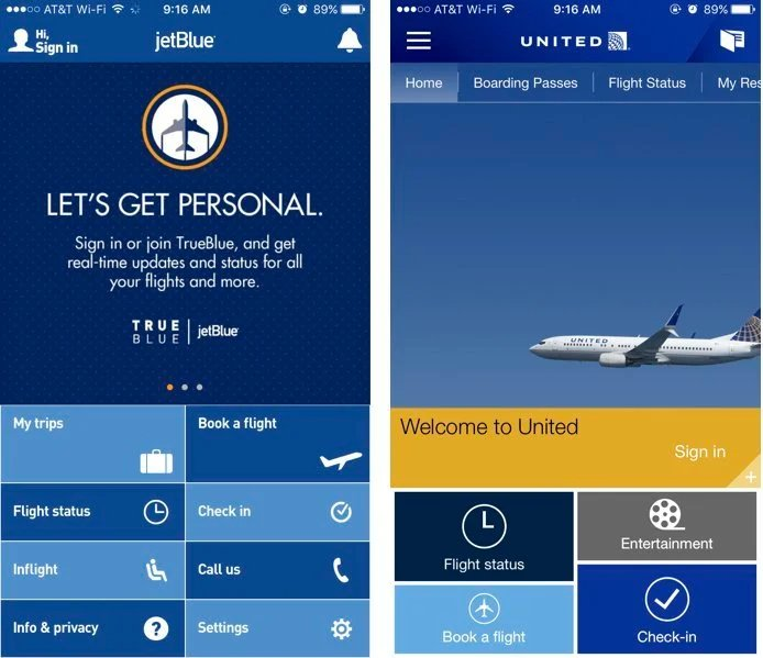The options presented to you on the launch screen in JetBlue's and United's mobile apps.