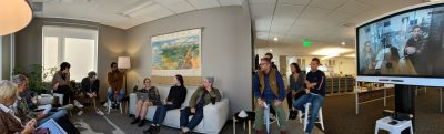 A panoramic photo of the Blink design team meeting via web conference