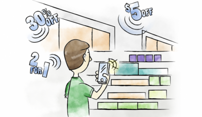 A cartoon of someone using a mobile app in a retail store