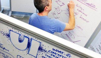Photo of Blink staff members working on a white board
